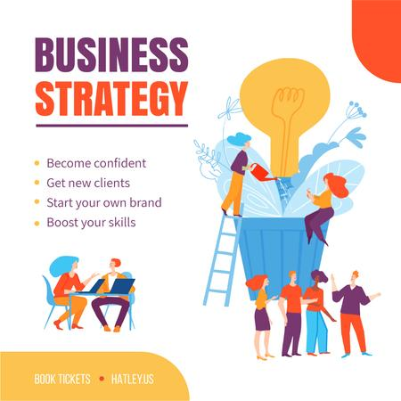 Business Strategy Courses People Growing Bulb Animated Postデザインテンプレート