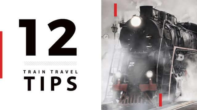 Travel tips with Old Steam Train Titleデザインテンプレート