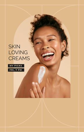 Plantilla de diseño de Happy Girl applying Cream IGTV Cover