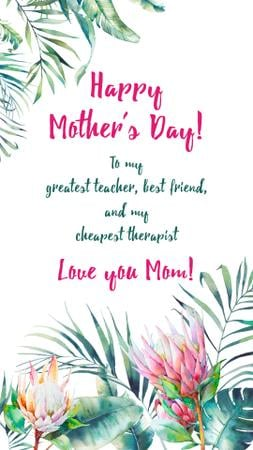 Modèle de visuel Mother's Day Greeting in Tropical plants frame - Instagram Story