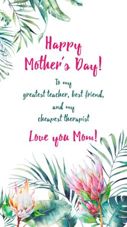 Ontwerpsjabloon van Instagram Story van Mother's Day Greeting in Tropical plants frame