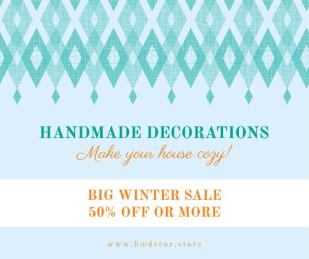 Template di design Handmade decorations sale on Pattern in Blue Facebook