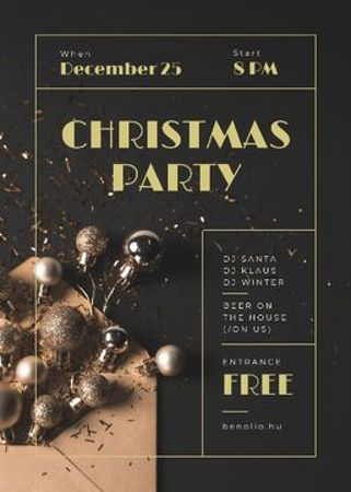 Plantilla de diseño de Christmas Party Invitation Shiny Golden Baubles Flayer