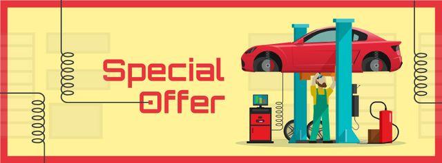 Plantilla de diseño de Man repairing car in garage Facebook cover