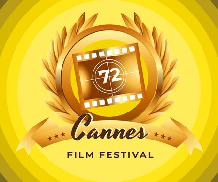 Plantilla de diseño de Cannes Film Festival golden frame Facebook