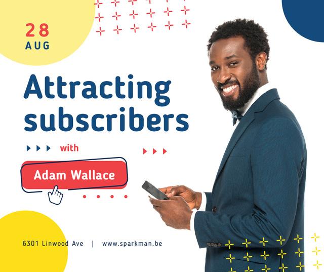 Plantilla de diseño de Social Media ad smiling Man using Smartphone Facebook