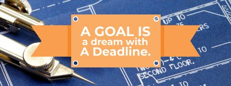 Goal motivational Quote with Blueprints Facebook cover Modelo de Design