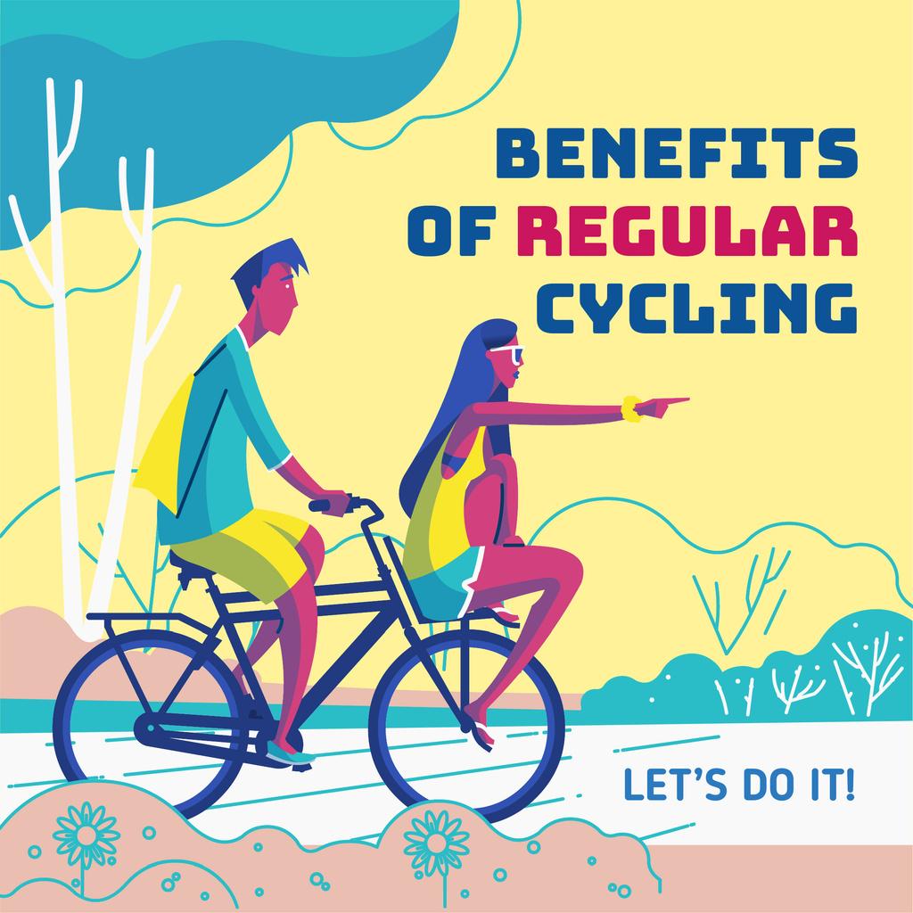 Couple riding tandem bike — Maak een ontwerp