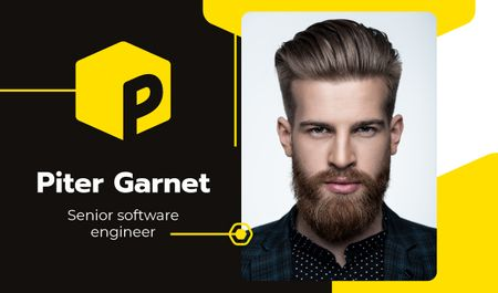 Software Engineer Contacts with Bearded Man Business card Tasarım Şablonu