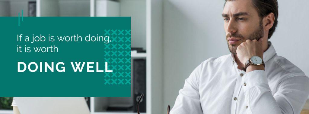 Modèle de visuel Citation about a job with businessman - Facebook cover
