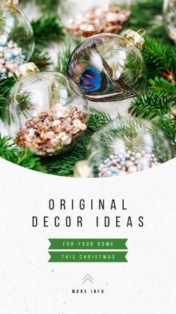 Ontwerpsjabloon van Instagram Story van Decor Ideas with Shiny Christmas decorations