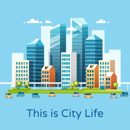 Plantilla de diseño de Traffic and infrastructure in modern city Animated Post
