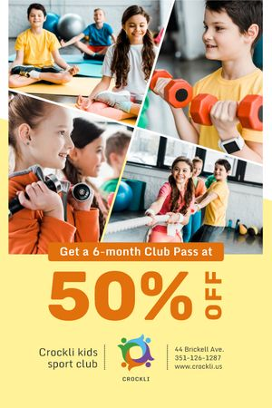 Plantilla de diseño de Kids Sports Club Offer Children Training Tumblr