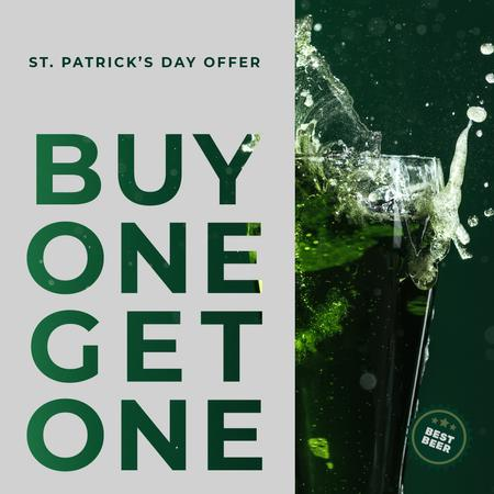 Ontwerpsjabloon van Instagram AD van Saint Patricks Day Beer Offer