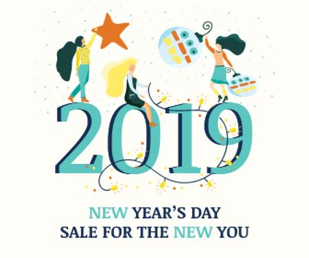 Plantilla de diseño de People decorating 2019 numbers Large Rectangle