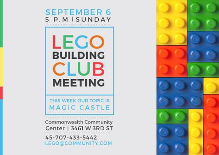 Plantilla de diseño de Lego Building Club meeting Constructor Bricks Postcard