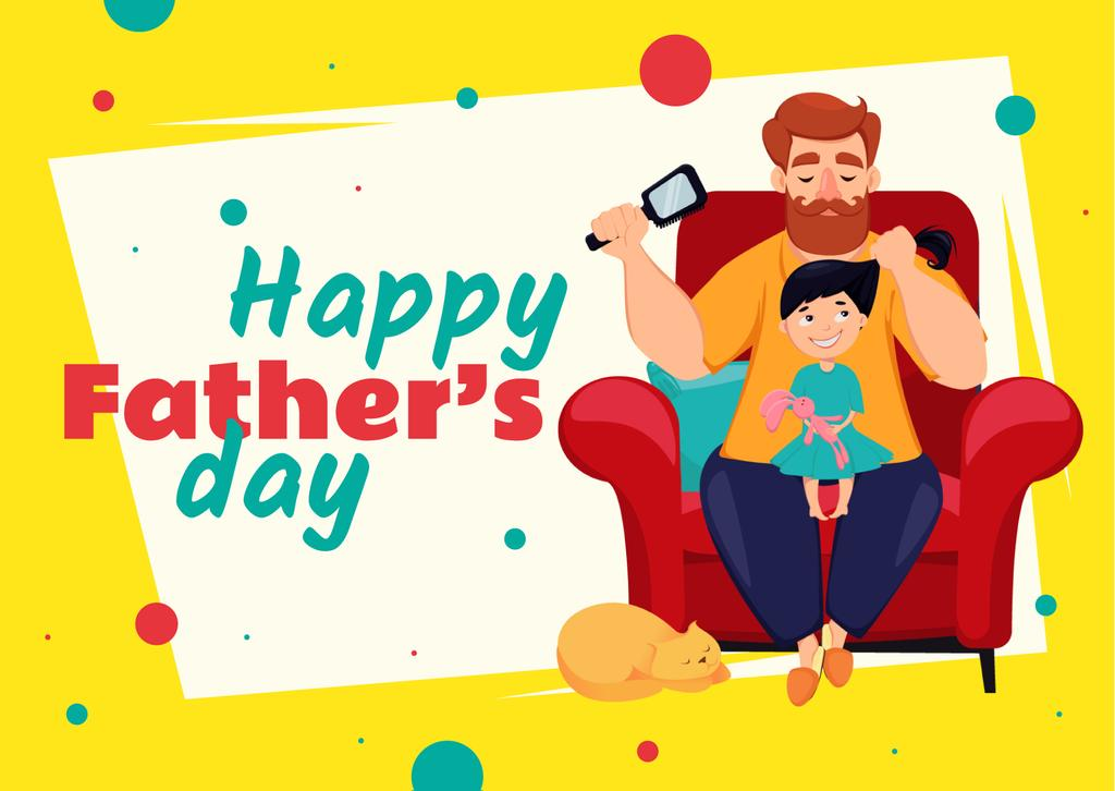 Father's Day Greeting with Dad Brushing Daughter's Hair — Crear un diseño