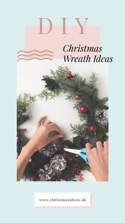 Modèle de visuel Woman making Christmas wreath - Instagram Story