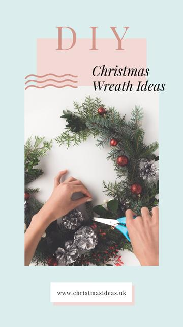 Modèle de visuel Woman making Christmas wreath - Instagram Story