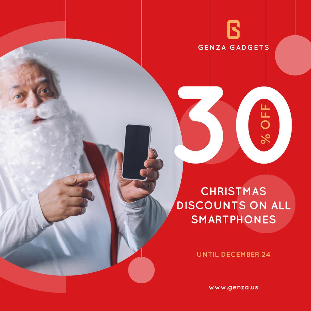 Christmas Discount Santa Holding Smartphone — Modelo de projeto