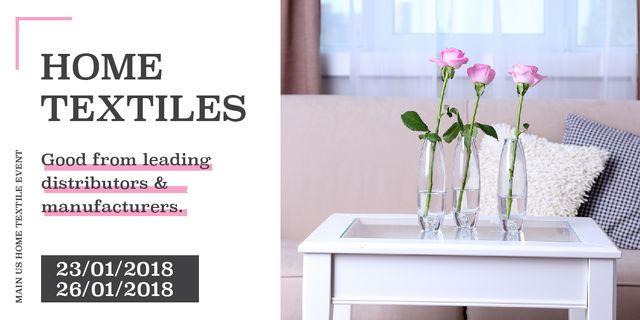 Home textiles event announcement roses in Interior Image Design Template
