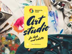 Art Classes Ad with Supplies and Brushes