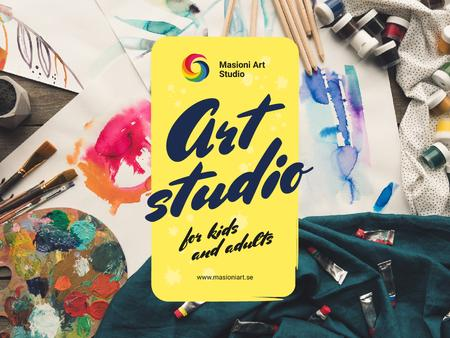 Designvorlage Art Classes Ad with Supplies and Brushes für Presentation