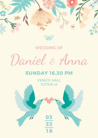 Wedding Invitation with Loving Birds and Flowers Invitation Tasarım Şablonu