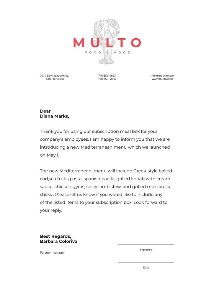 Catering company new Menu announcement — Créer un visuel