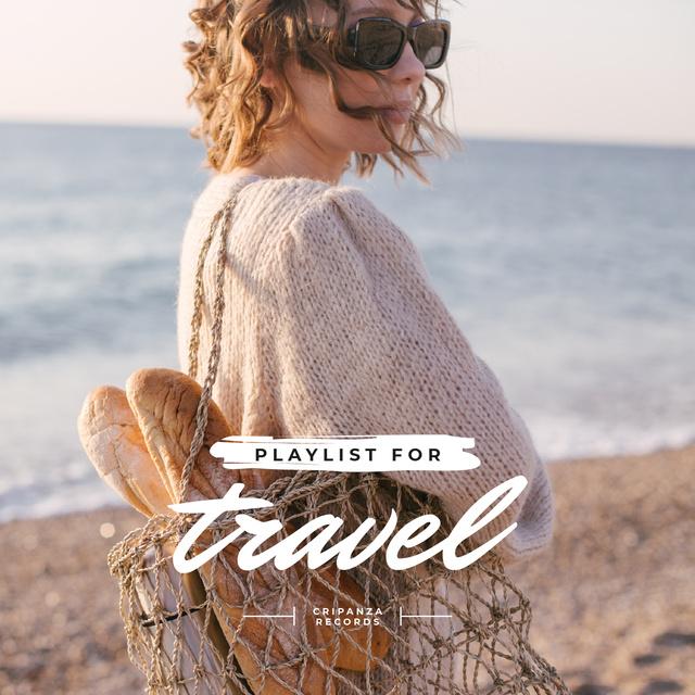 Girl at Seacoast with Picnic basket Album Cover Modelo de Design