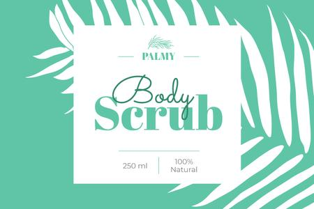 Plantilla de diseño de Body Scrub ad with palm leaf Label