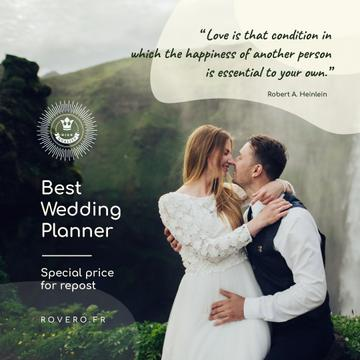 Wedding Planning Services Newlyweds Kissing in Nature | Instagram Post Template