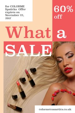 Cosmetics Sale Woman with Red Lipstick