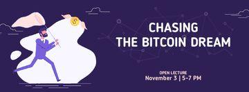 Man chasing Bitcoin money
