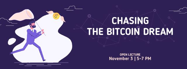 Szablon projektu Man chasing Bitcoin money Facebook Video cover