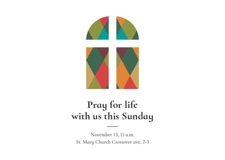 Invitation to Pray with Church windows Card Design Template
