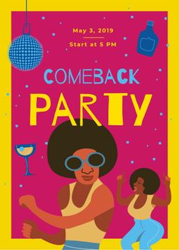 Comeback Party Invitation People Dancing at Disco | Flyer Template