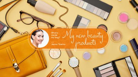 Beauty Blog Ad with Makeup Products on Table Youtubeデザインテンプレート