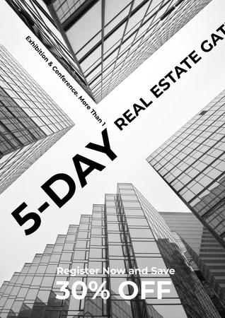 Real Estate Exhibition with Glass Skyscrapers Posterデザインテンプレート