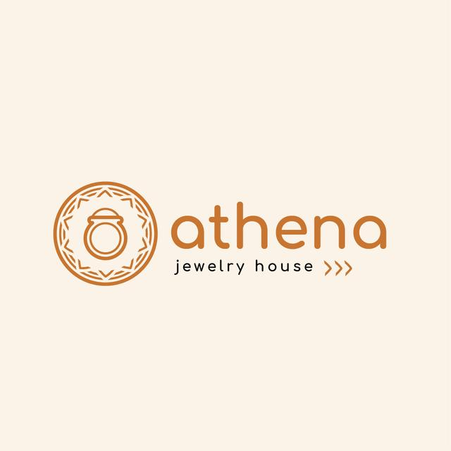 Jewelry Ad with Ring in Circle in Red Logo – шаблон для дизайна