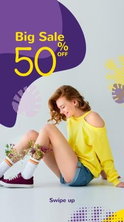Fashion Ad with Happy Young Girl in Yellow Instagram Storyデザインテンプレート