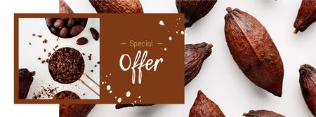 Chocolate pieces and cocoa beans Facebook cover Design Template