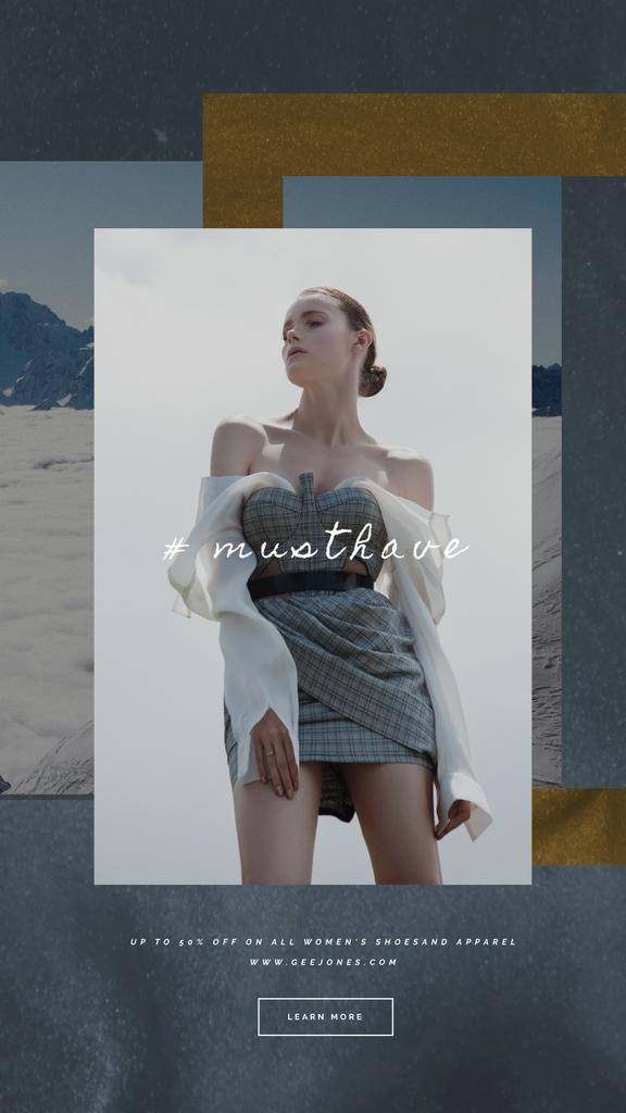 Fashion Ad with Woman in Stylish Clothes | Vertical Video Template — Modelo de projeto