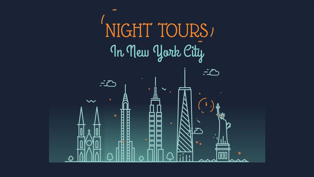 New York Night Futuristic City Lights — Создать дизайн
