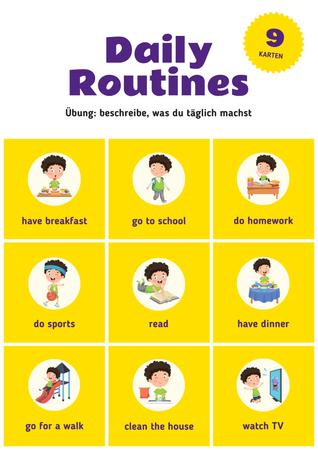 Daily Routine Chart for Kids Poster Modelo de Design