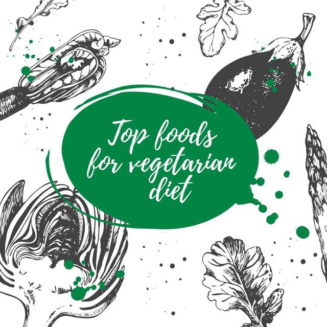 Plantilla de diseño de Foods for vegetarian diet with Veggie illustration Instagram