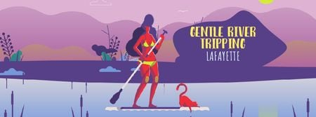 Template di design Woman paddleboarding on calm river Facebook Video cover