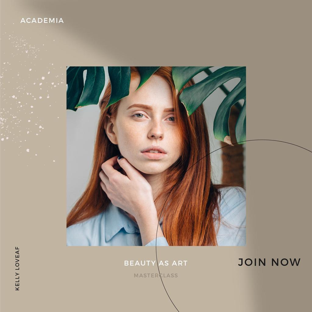 Beauty Masterclass Annoucement with Woman under Flower Instagram Design Template