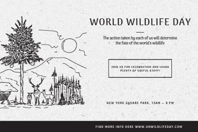 Ontwerpsjabloon van Gift Certificate van World wildlife day