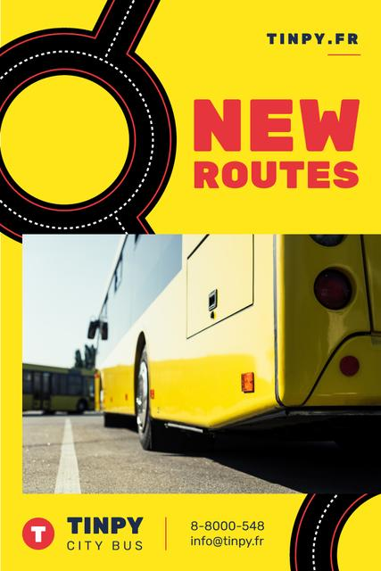 Modèle de visuel Public Transport Routes with Bus in Yellow - Pinterest